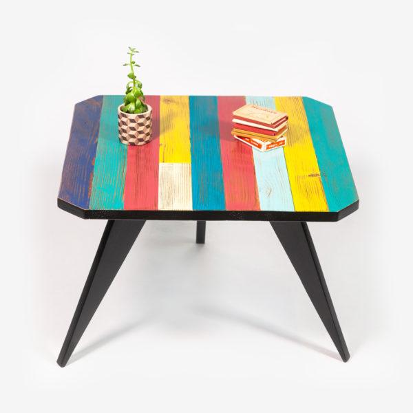 Table basse colorée pieds compas écoresponsable