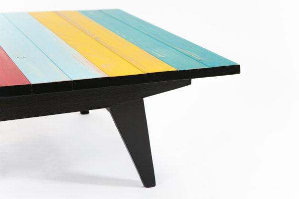 Table basse lattes pieds compas noirs bois recyclé