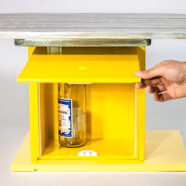 Table basse range bouteille meuble éthique upcycling