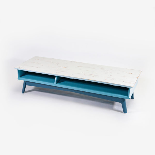 Table basse design scandinave bleue grise meuble écoresponsable