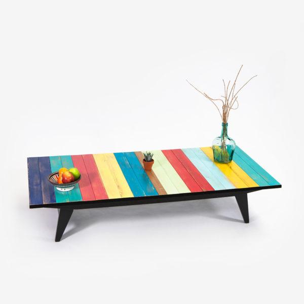 Table basse design rustique bohème colorée pieds compas recyclée