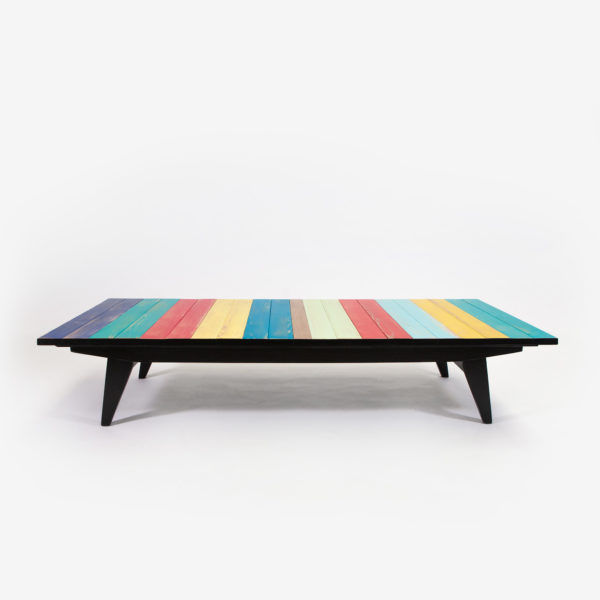 Table basse design rustique bohème colorée pieds compas écoresponsable