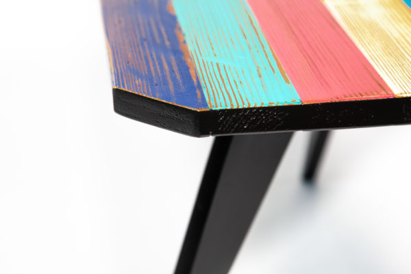 Table basse bois massif coloré fabrication responsable