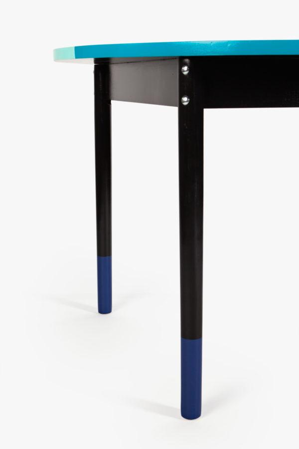 Table à manger bois design bleu noir et pieds démontables