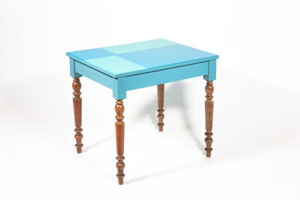 Table bureau bleu-vert design pieds rustiques écoresponsable