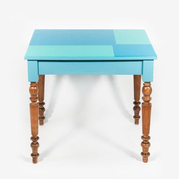 Table bureau bleue design éthique pieds rustiques