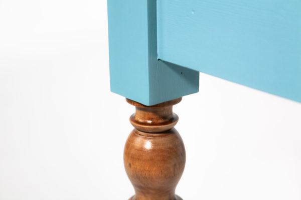Table bureau bleu-vert recyclée pieds rustiques bois