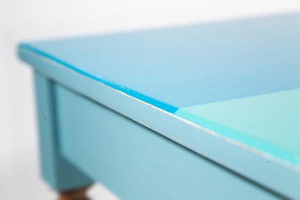 Table bureau bois bleu-vert écoresponsable