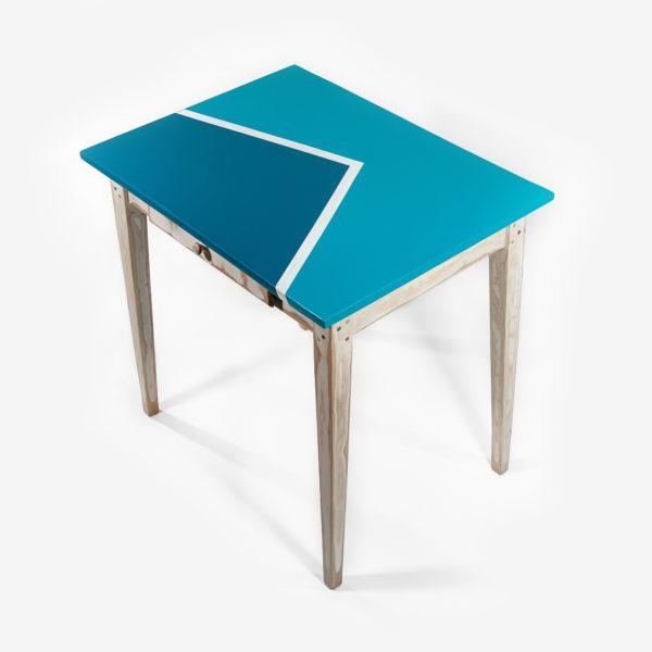 Table bureau bleue design rustique meuble écoresponsable