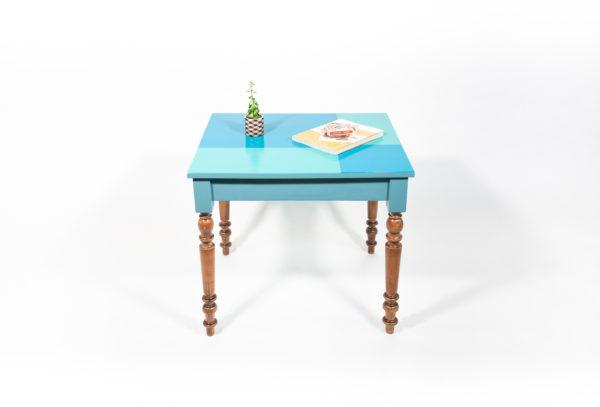 Table bureau bois design bleu-vert écoresponsable
