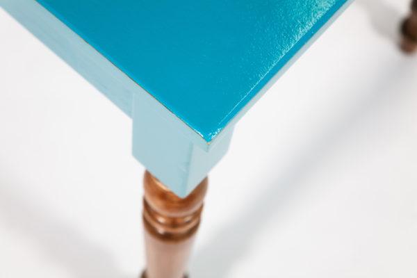 Table bureau éthique bois bleu-vert pieds rustiques