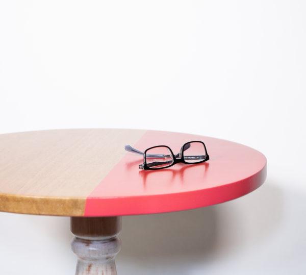 Table bistrot design chêne massif rose pop éthique