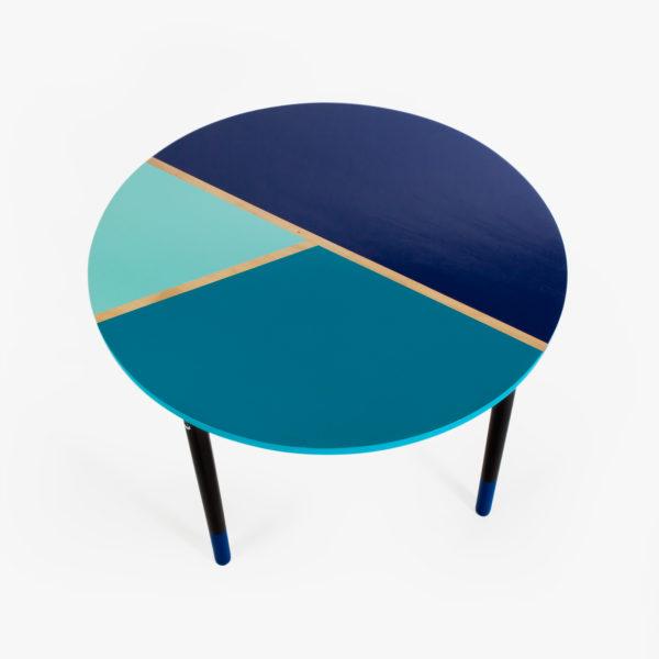 Table salle à manger écoresponsable bleue et noire design