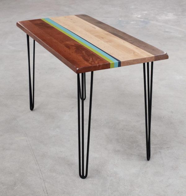 Table bureau bois design bandes couleurs pieds épingles