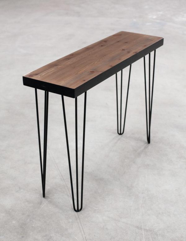 Console rectangulaire éthique en bois massif sur pieds métal