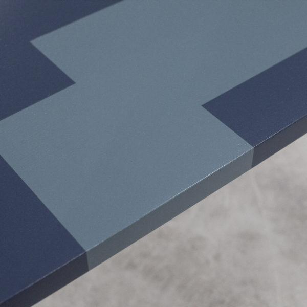Table basse bois customisation géométrique design