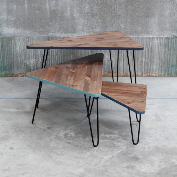 Tables basses triangulaires emboitables design en bois massif recyclé