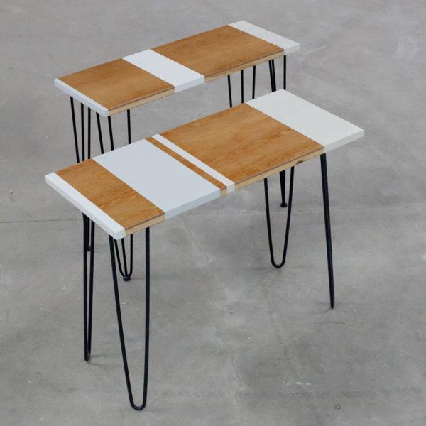 Consoles en bois design sur pieds épingles