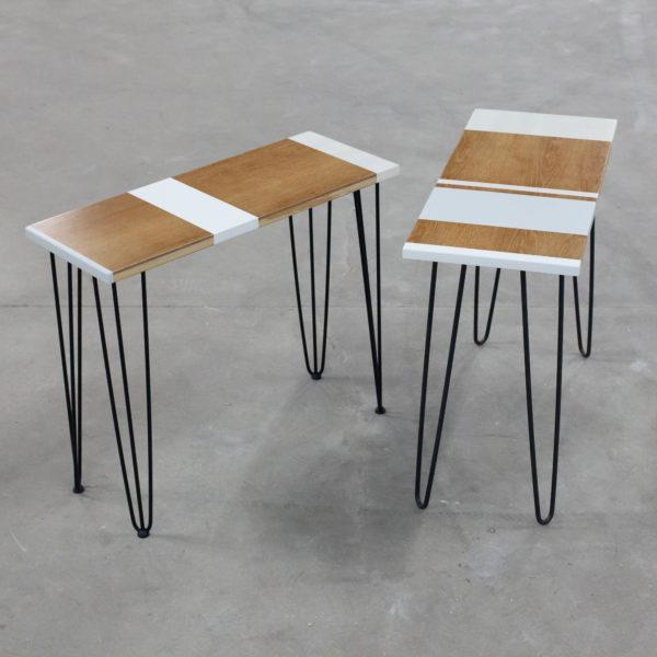 Consoles en bois sur pieds épingles industriels