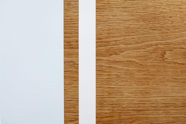 Console en chêne aux bandes colorées design