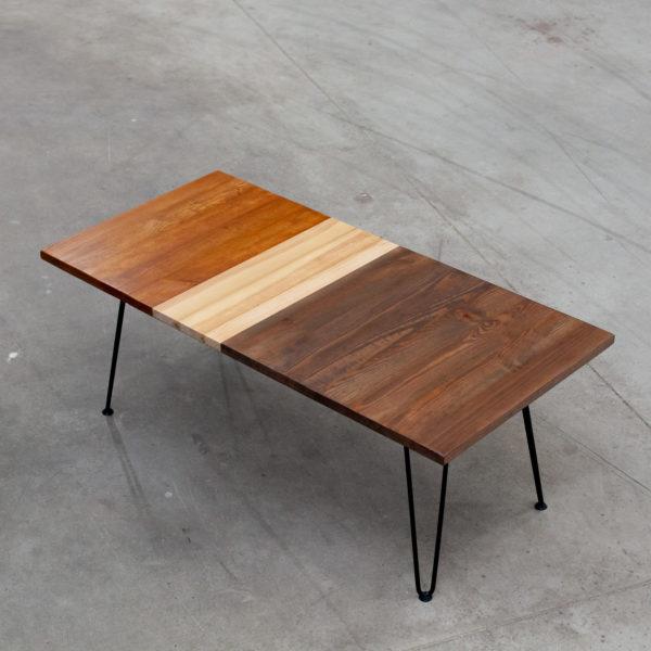 Table basse bois massif écoresponsable style industriel