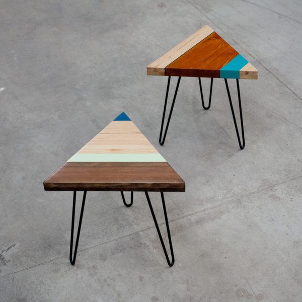 Bouts de canapé design en bois recyclé sur pieds épingles